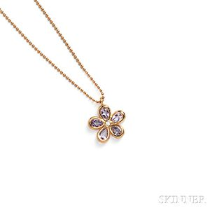 """18kt Rose Gold and Amethyst """"Tiffany Sparklers"""" Flower Pendant, Tiffany & Co."""