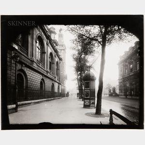 Eugène Atget (French, 1857-1927)      Street View with Kiosk, Paris