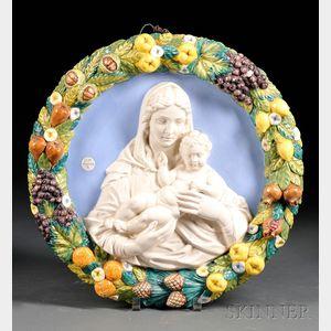 Italian Della Robbia-style Ceramic Roundel of the Madonna and Child
