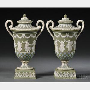 Pair of Wedgwood Three-color Jasper Dip Diceware Vases and Covers