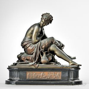 After Mathurin Moreau (French, 1822-1912)       Bronze Figure of Sappho