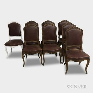 Eight Louis XV-style Leather Upholstered Walnut Side Chairs