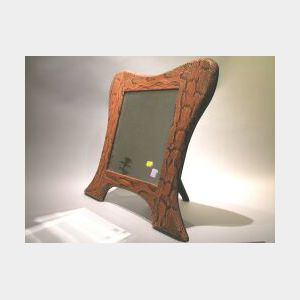 Reptile Skin Mounted Table Mirror Frame.