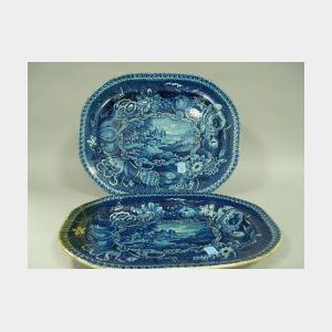 Pair of R. Halls Blue and White Conways Castle Transfer Decorated Staffordshire Platters.