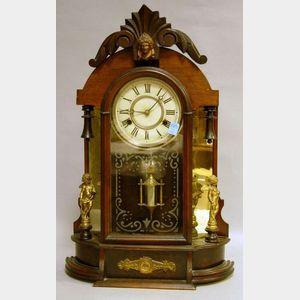 Late Victorian Mahogany-finished Mirror-sided Shelf Clock.