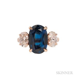 18kt Rose Gold, Sapphire, and Diamond Ring