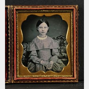 Sixth Plate Daguerreotype Portrait of a Young Girl
