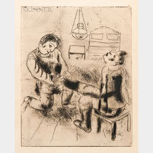 Marc Chagall (Russian/French, 1887-1985)      Pétrouchka retire les bottes