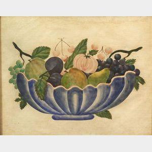 American School, 19th Century  Still Life of a Bowl of Fruit.