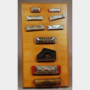 Ten Vintage Harmonicas, various makers