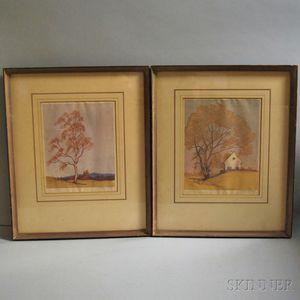 Carl Rotky (Austrian, 1891-1977)      Two Linocuts on Paper.