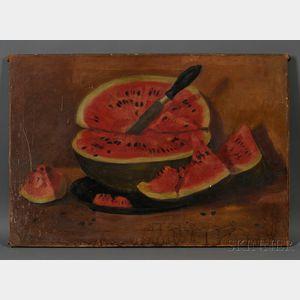American School, 19th Century      Folk Painted Still Life with a Watermelon.