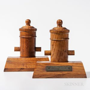 Pair of Oak USS Constitution   Bookends