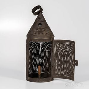 Large Pierced Tin Lantern