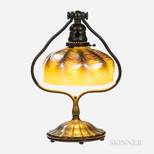 Tiffany Studios Bronze Harp Desk Lamp