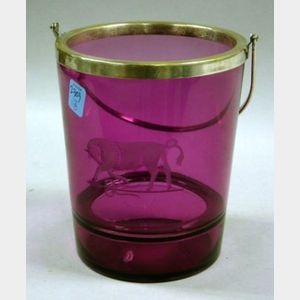 Silver Plate Mounted Bull Etched Amethyst Glass Ice Bucket.