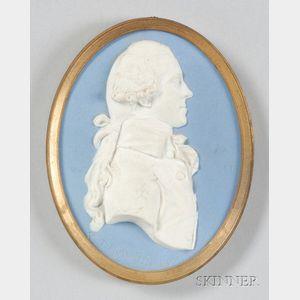 Wedgwood Light Blue Jasper Portrait Medallion of William Temple Franklin