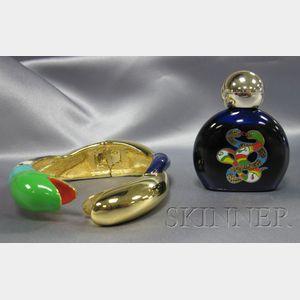 Artist-Designed Polychrome Enamel Serpent Bangle, Niki de Saint Phalle