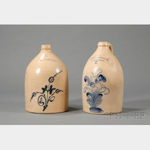 Two Floral Cobalt-decorated Stoneware Jugs