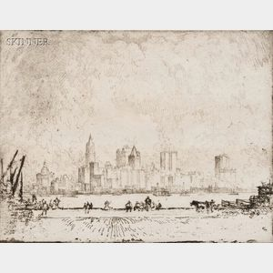 Joseph Pennell (American, 1860-1926)      New York, From Hamilton Ferry