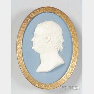 Wedgwood Solid Blue Jasper Portrait Medallion of Benjamin Franklin