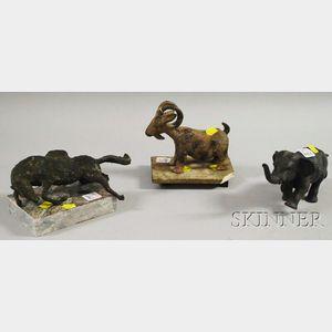 Three Small Metal Animal Sculptures
