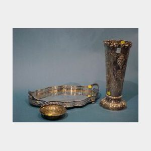 Sheffield Plated Repousse Vase, Reticulated Serving Tray and English Sterling