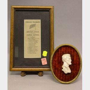 Framed 1864 Abraham Lincoln/Andrew Johnson Union Ticket and a Mounted Plaster Lincoln Profile Bust.