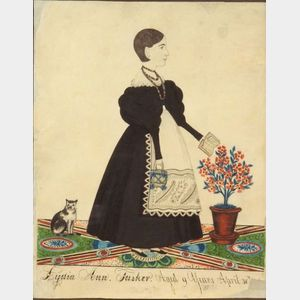 Attributed to Joseph H. Davis (American, 1811-1865)      Portrait of Lydia Ann Tasker.