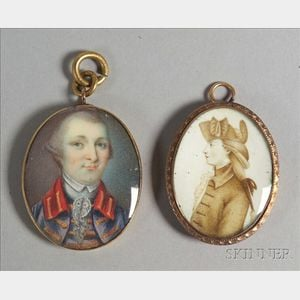 Anglo and/or American School, 18th Century    Two Portrait Miniatures on Ivory of American Revolutionary War Figures John Andre a