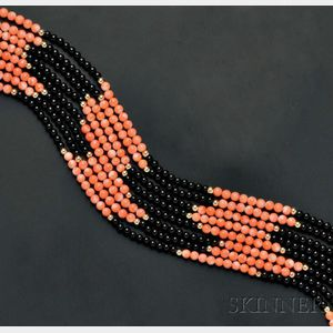 Multi-strand Coral and Onyx Bead Necklace