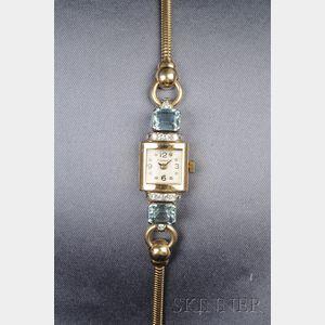 Retro Lady's 14kt Gold, Aquamarine, and Diamond Wristwatch, Cartier
