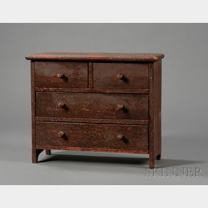 Miniature Brown-painted Pine Chest of Drawers