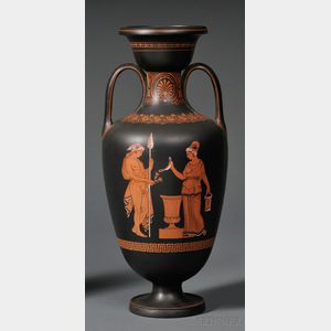 Wedgwood Encaustic-decorated Black Basalt Vase