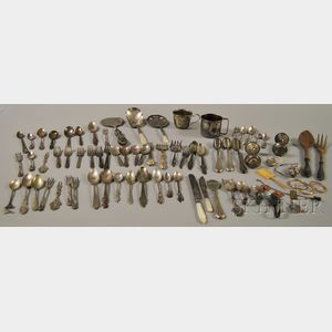 Large Group of Silver and Silver-plated Flatware and Baby Items