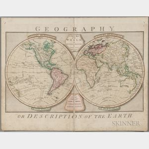 World, Double-hemisphere. Samuel Dunn (d. 1794) A New Map of the World, with the Latest Discoveries.