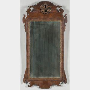 Walnut Veneer and Gilt Scroll-frame Mirror