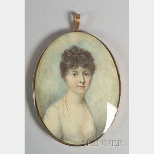 Anglo/American School, 18th Century    Portrait Miniature of a Woman.