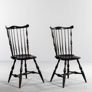 Pair of Painted Fan-back Windsor Side Chairs