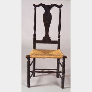 Turned Black-painted Rush-seat Side Chair