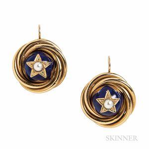 Gold and Enamel Earrings