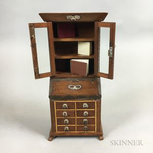 Miniature Chippendale-style Brass-decorated Walnut Secretary