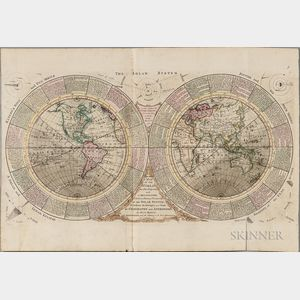 World, Double-hemisphere. Benjamin Martin (1705-1782) A Map of the World on a New Projection with a Delineation of the Various Parts an