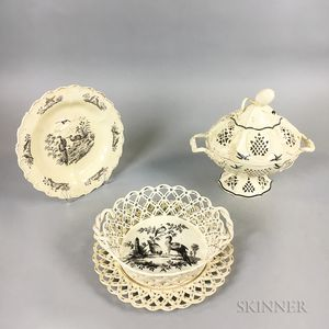 Three Leeds Creamware Black Transfer-decorated Reticulated Creamware Items