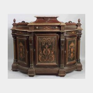 American Renaissance Revival Inlaid and Parcel Gilt Rosewood Side Cabinet, third quarter 19th c., the stepped center section with marbl