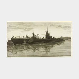 John Taylor Arms (American, 1887-1953) Lot of Two Naval Prints: Battle Wagon - U.S.S. Alabama Outfitting at Norfolk Navy Yard, Crane Sh