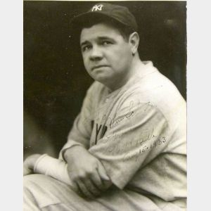 "George Herman ""Babe"" Ruth Signed Black and White Photograph"