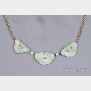 14kt Gold and Jadeite Necklace