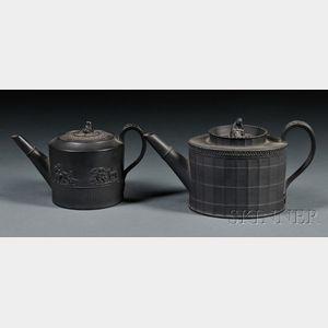 Two Elijah Mayer Black Basalt Teapots and Covers