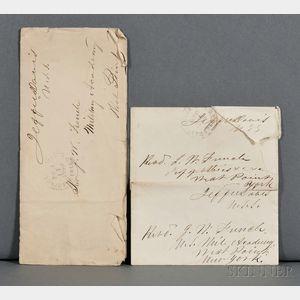 Davis, Jefferson (1808-1889) Three Envelopes with Free Frank Signatures.